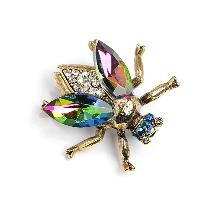 Vintage Style Jewelry, Retro Jewelry Sweet Romance Vintage Gold Bee Bug Insect Brooch Pins $18.00 AT vintagedancer.com