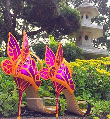 HYLM Vestido de boda de los talones de mariposa de alas finas sandalias de la señora de calidad de alto grado zapatos zapatos de fiesta rose red