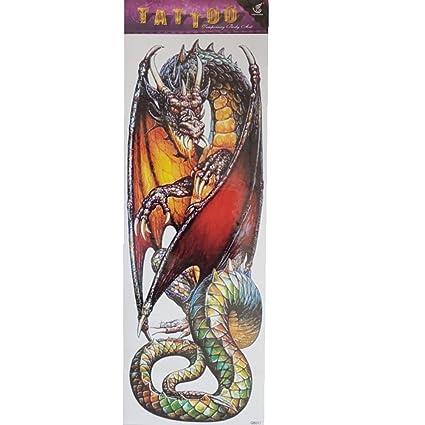 Just Fox - temporäres Tattoo Dragón tatuaje diseño multicolor ...