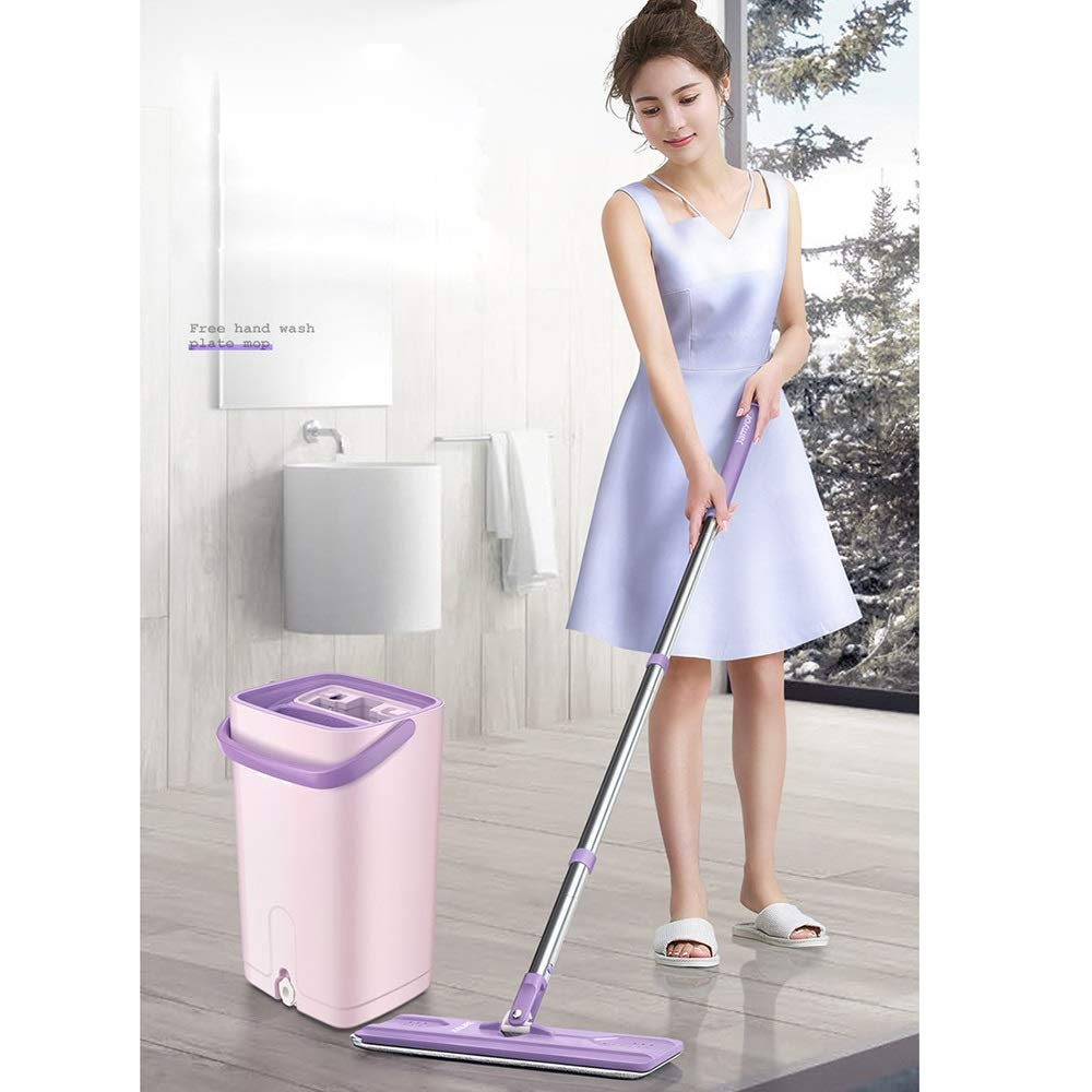 Xiao Jian Rotating Mop - Hand-free Flat Mop Rotating Home Wood Floor Tile Mop One Drag Lazy Wet And Dry Mop mop (color : Beige, UnitCount : 1 mop pole) by Qi Peng-//spin mop (Image #5)