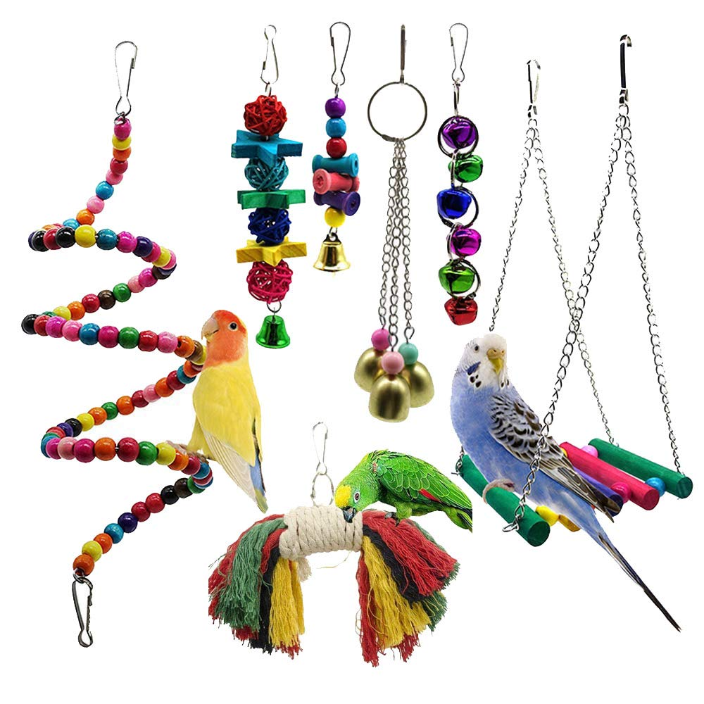 7 Pieces Parakeet Bird Toys Perches Swing Toys Climbing Cage Hanging Toys with Bells for Conures Parreds Parakeets Cockatiels Macaws Finches Pet Toys