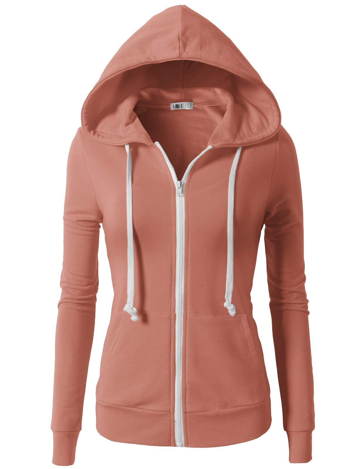 H2H Womens Active Regular Fit Zip up Long Sleeve Hoodie Jacket MAUVEPINK XS (CWOHOL020)