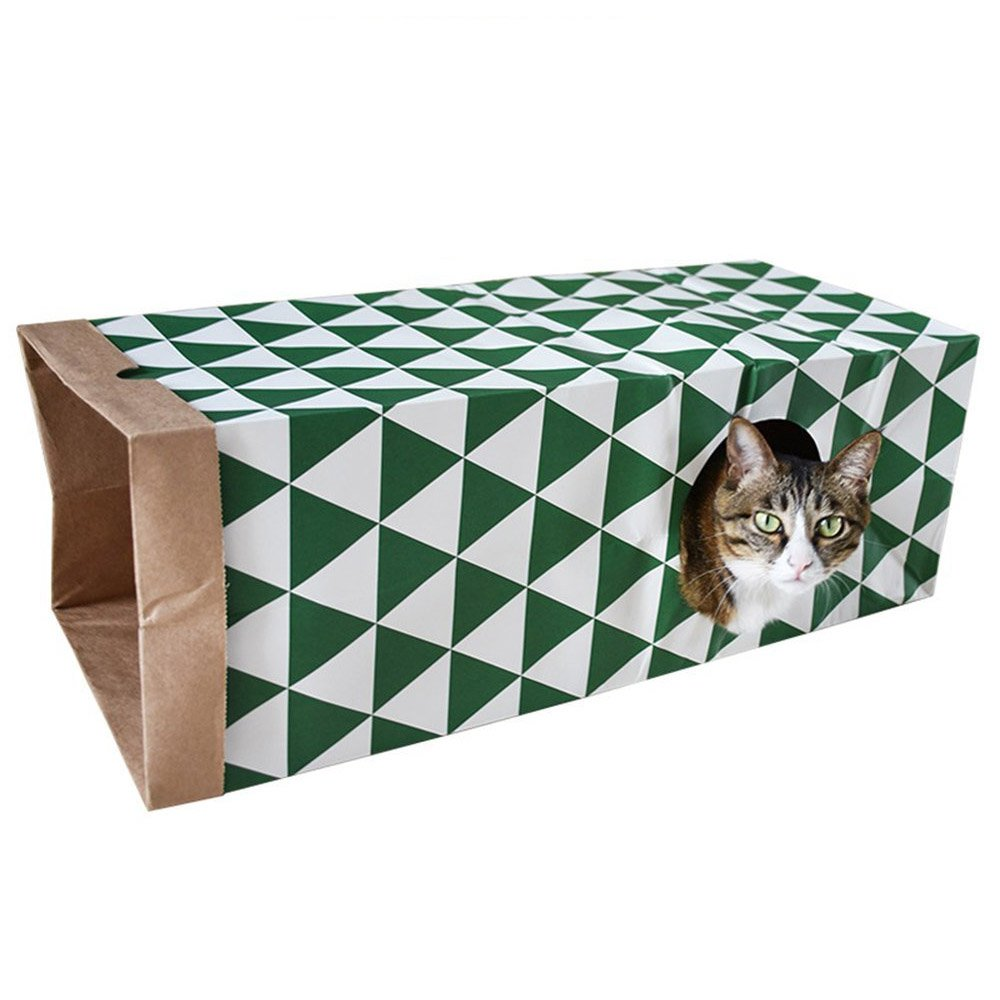 ASOCEA Hide and Sneak Cat Paper Bag Tunnel Fun Interactive Kitten Bunny Hideout Collapsible Pet House Toy