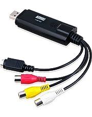 August VGB100 USB 2.0 Video Capture Device Card - Grabber Lead to Convert VHS / S Video / RGB via USB Transfer Cable - For Windows 10 / 8 / 7 / Vista / XP