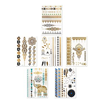 58bbff77d0630 Boho Metallic Waterproof Temporary Tattoos: Flash Gold and Silver Small/Large  Fake Tattoos for