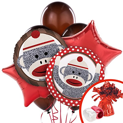 BirthdayExpress - Sock Monkey Red Balloon Bouquet - Multi-Colored