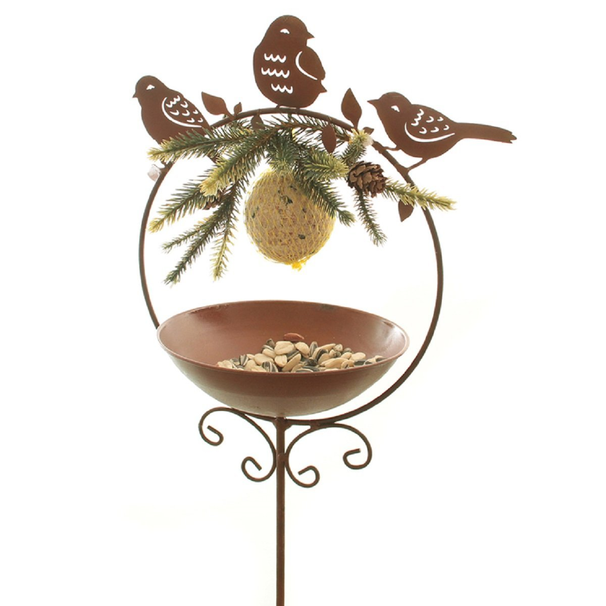 Dio Meisenkn/ödelhalter als Gartenstecker 3 x Vogel im Ring aus Metall mit Tr/änke oder Futterstelle