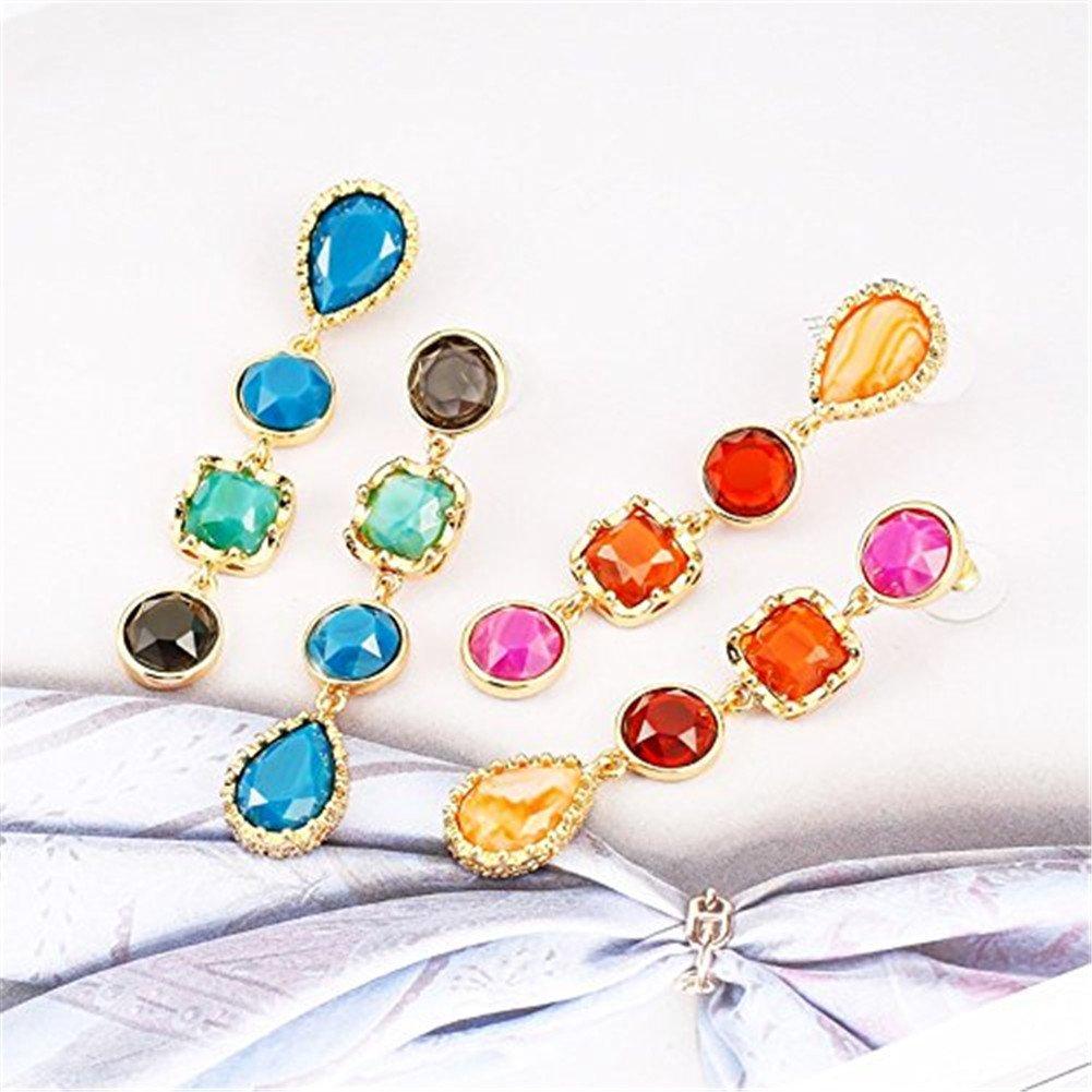 Fashion Creative Colorful Crystal Women Earrings Set Chunky Teardrop Gemstone Drop Dangle for Girls - Style 1