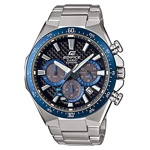 5b49864064b4 CASIO Reloj Cronógrafo para Hombre de Energía Solar con Correa en Acero  Inoxidable EFS-S520CDB-1BUEF  Amazon.es  Relojes