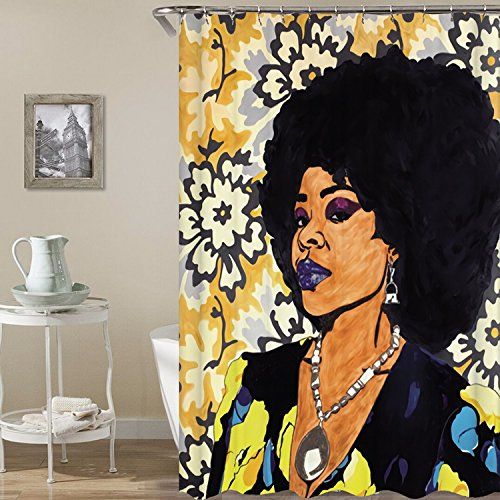 Afro Lady with Diamond Printed Shower Curtains Mildew Resistant Waterroof Anti-Bacterial Polyester Fabric Shower Curtain - Non Toxic Eco-Friendly No Odor Bathroom HYC08-US (#Rock Star) (Rock Star Shower Curtain)
