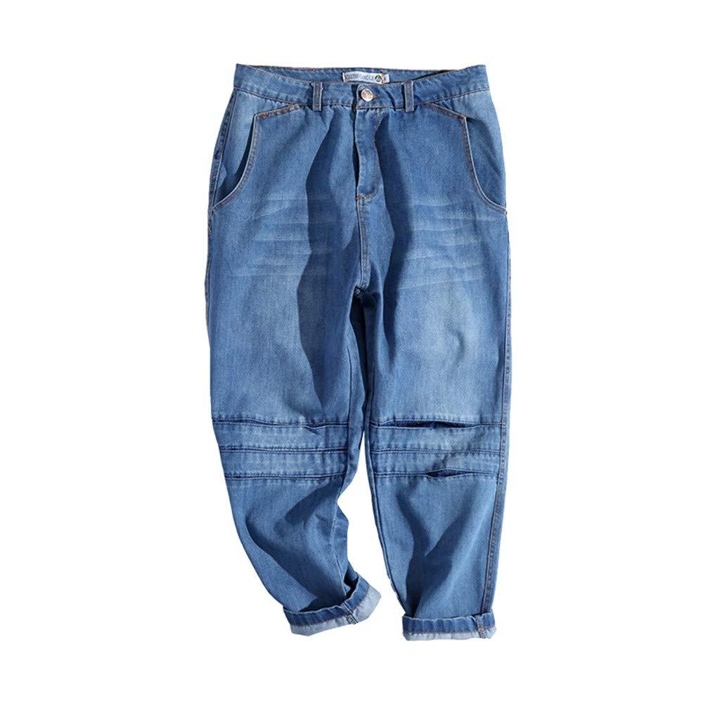 EVEORSSRA Jeanshosen Retro-Jugend-beiläufige Jeans-Gezeiten-Mann-niedrige Gabelungs-Kreuz-Hosen wuschen Overall-Spassvogel-Hosen
