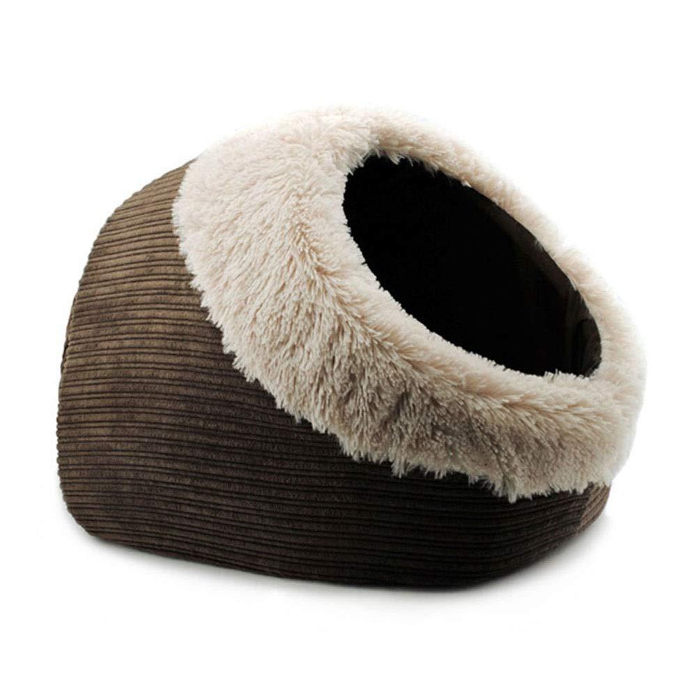 WEAO Brown Closed Yurt Cat Nest Cat Tent Cat Sleeping Bag Cat Bed Keep Warm Pet Kitten Supplies PP Cotton Material