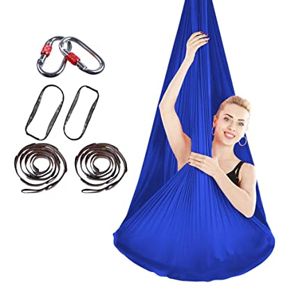 Yoga Fitness & Body Building Stretchy Aerial Hammock With Extended Carabiner Indoor Silk Anti Gravity Yoga Set Elastic Swing Latest Belts For Training Sports