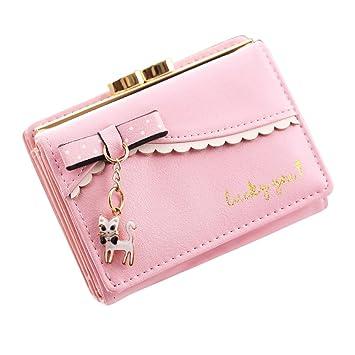 b79351dc95b11 Piebo Schuhe   Handtaschen Mini Brieftasche Clutch Piebo Frauen Kurze  Trifold Kleine Portemonnaie mit Katze Anhänger Damen