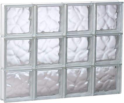 32 pulgadas. x 24 pulgadas. x 3 pulgadas. Ventana de bloque de vidrio con patrón de ondas sin ventilación: Amazon.es: Bricolaje y herramientas