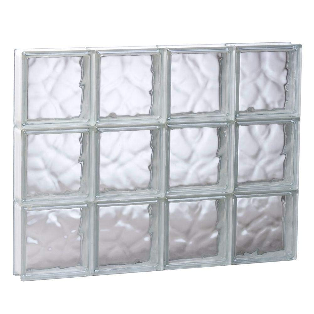 32 in. x 24 in. x 3 in. Non-Vented Wave Pattern Glass Block Window by REDI2SET
