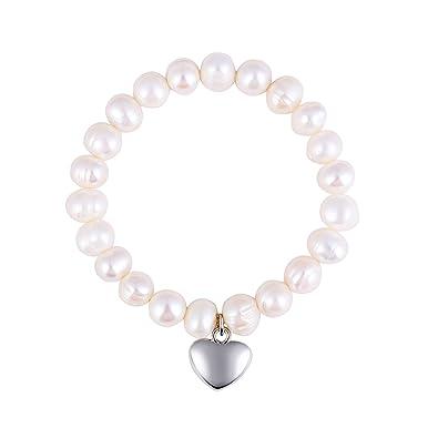 Ornami 925 Sterling Silver Heart Charm Freshwater Pearl Stretch Bracelet 17.5 cm e7kg433