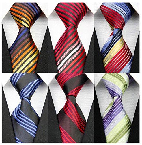 YanLen Pack of 6 Classic Men's Silk Polyester Tie Necktie Woven JACQUARD Neck Ties