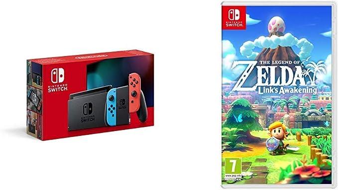 Nintendo Switch - Neon Red/Neon Blue + Legend of Zelda: Links Awakening Standard Edition: Amazon.co.uk: PC & Video Games