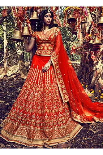 Da Facioun Indian Women Designer Wedding orange Lehenga Choli K-4758-42019