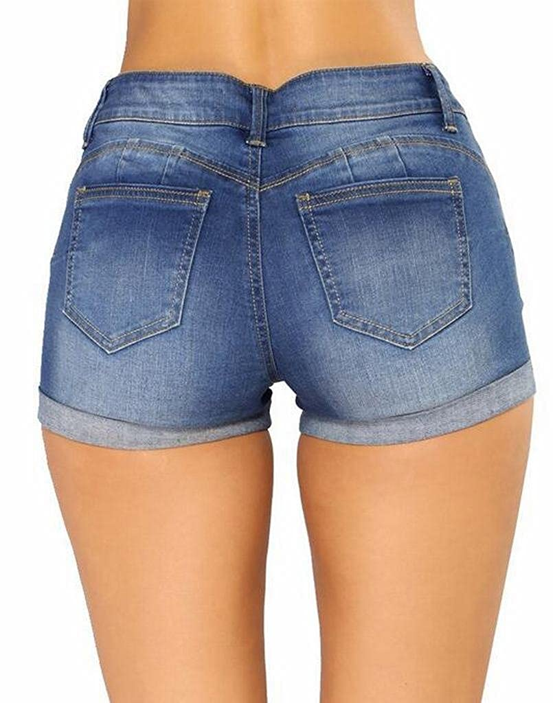 Suncolor8 Womens Ripped Destroyed Summer Low Rise Denim Shorts Jeans Hot Pants