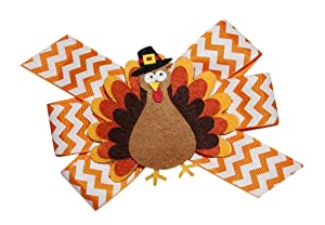 WD2U Girls Chevron Pilgrim Tom Turkey Thanksgiving Hair Bow Alligator Clip