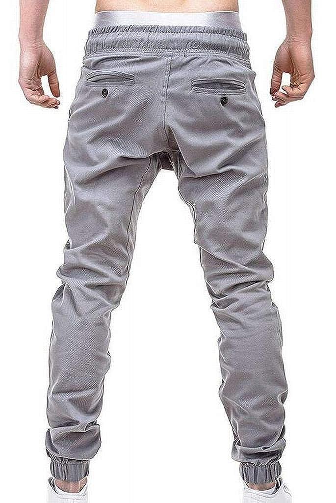 ARTFFEL Mens Casual Slim Elastic Waisted Drawstring Plain Jogging Pants