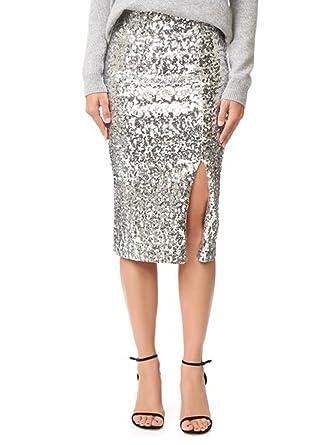 d19ff393d6a0 Flowerry Women Silver Slit Sequin Skirt Knee Length Sequin Skirt Women Slit  Skirt 4XL Silver