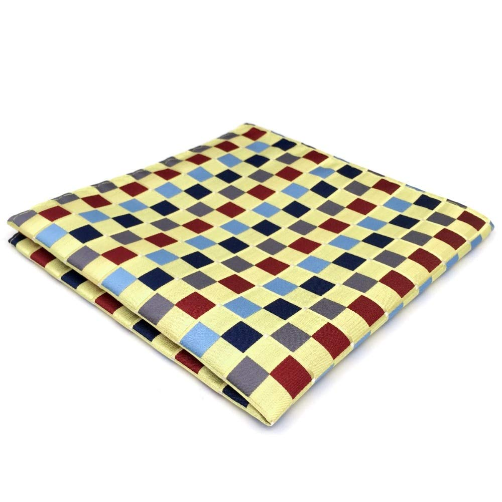 Shlax& Wing Unique Design Yellow Multicolored Pocket Square For Men Wedding Groomsmen Shlax & Wing DH32