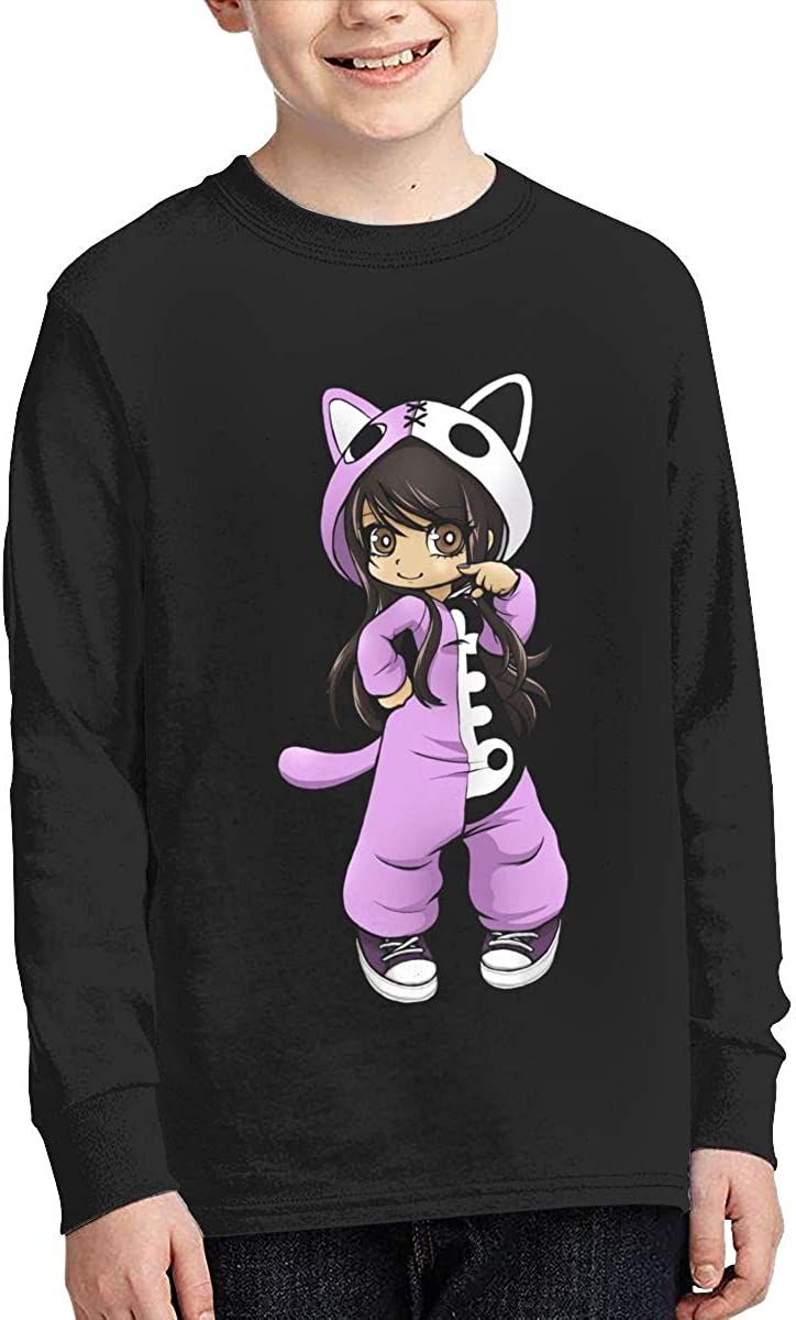 XTYND556 Aphmau Gaming Cotton Crew Neck Long Sleeve Graphic T-Shirt for Boys Girls