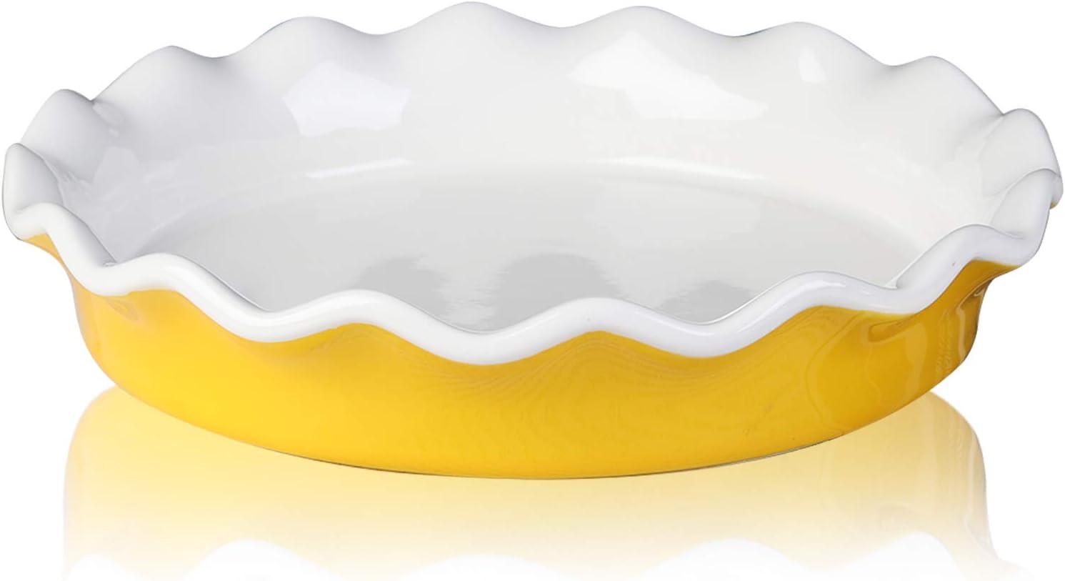 Ceramic Pie Pan, Jemirry 10 inch Pie Dish Pie Plates Round Baking Dish for Quiche Gratin Cake Pizza Dessert -Yellow