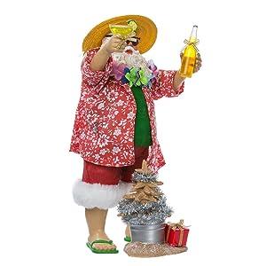 Kurt Adler Fabriche' Beach Santa, 10-Inch, 2-Piece set