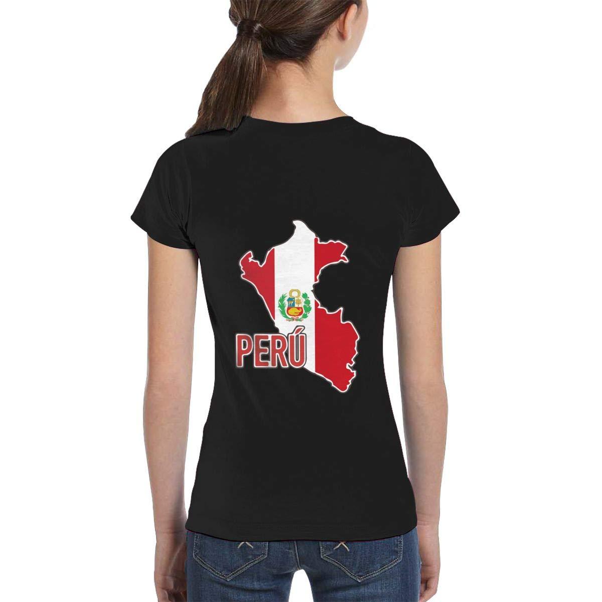 Fashion Tunic Shirt Dress XS-XL L6Nv4o@A Girls Short Sleeve Peruvian Pride Map of Peru Shirts