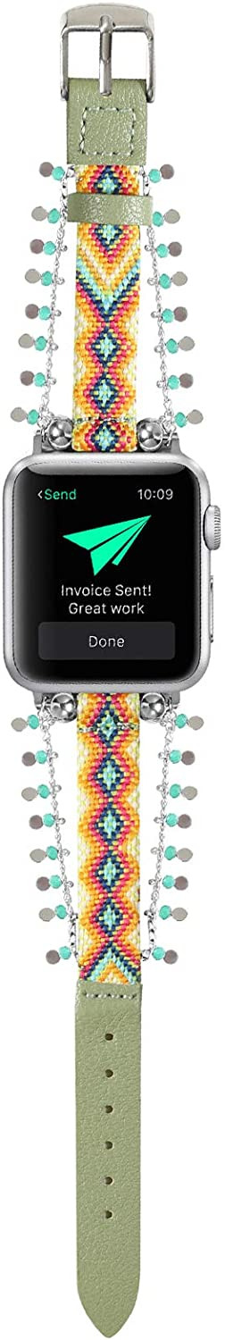 YOSWAN Adjustable Nylon and Leather Bracelet Compatible with Apple Watch Band Women 38mm 40mm, Dressy Slim Chain Wristband Braided Pattern Nylon and Soft Leather Sport Strap for iWatch Series SE/6/5/4/3/2/1