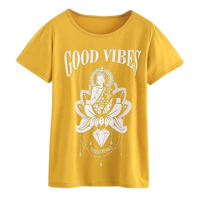 9129d7ad1d41 Camisas de Talla Grande para Mujer, Letra O-Cuello Impreso Blusa de ...