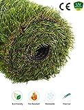 GOLDEN MOON Artificial Grass Rug Series PE Indoor/Outdoor Green Decorative Synthetic Artificial Grass Turf Area Rug 1'' Pile Height 3'x5'