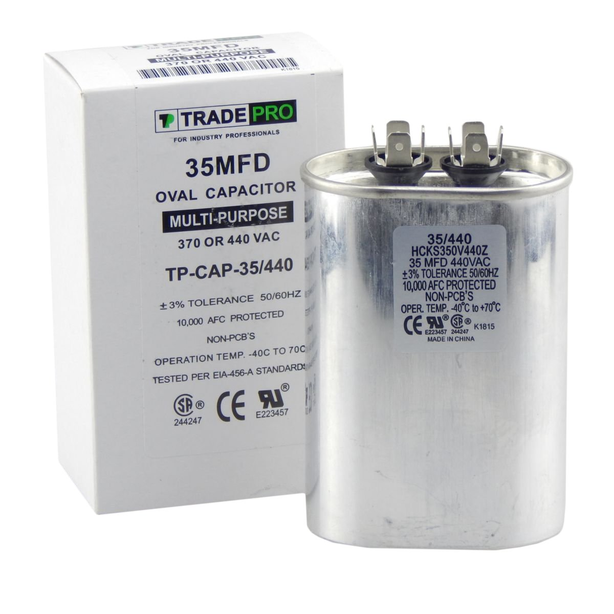 35 mfd Capacitor, Industrial Grade Replacement for Central Air-Conditioners, Heat Pumps, Condenser Fan Motors, and Compressors. Oval Multi-Purpose 370/440 Volt - by Trade Pro by TradePro