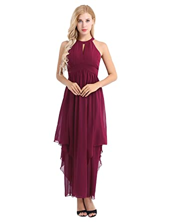 FEESHOW Women Ladies Sleeveless Halter Chiffon Elegant Cocktail Evening Party Dress Prom Gown Burgundy 8