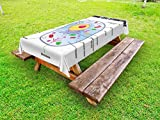 Ambesonne Educational Outdoor Tablecloth, Microbiology Theme Animal Cell Structure Genetic Research School Study Science, Decorative Washable Picnic Table Cloth, 58 X 120 inches, Multicolor