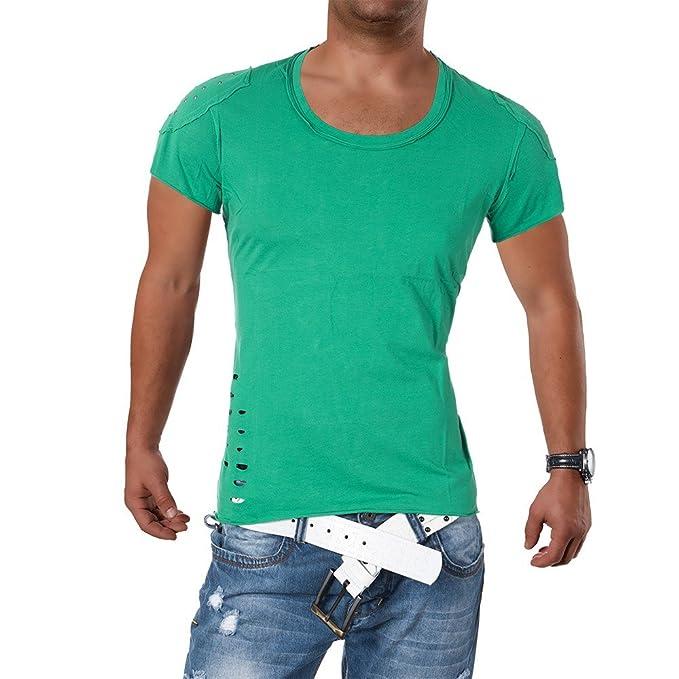 M419 STEGOL Herren Shirt Poloshirt T-Shirt Kurzarm V-Neck Clubwear V- Ausschnitt