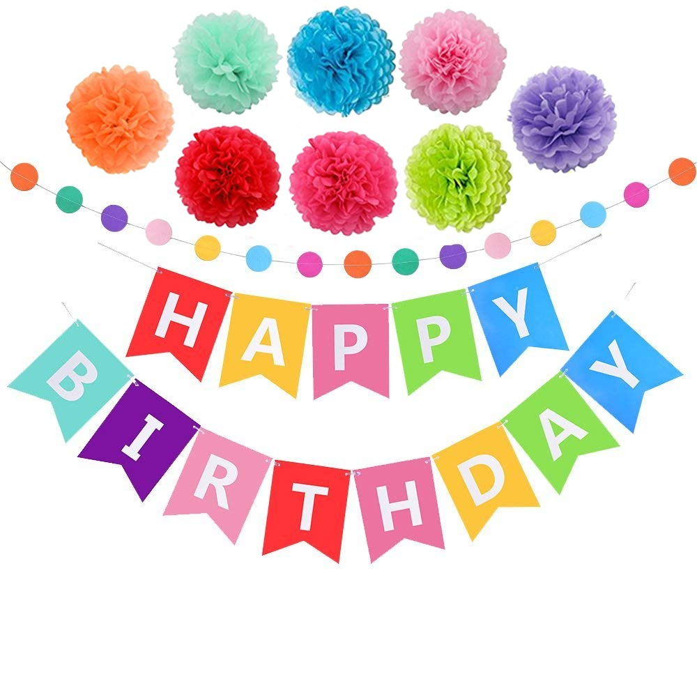 Happy Birthday Banner with Tissue Pom Poms for Rainbow Party Decorations Premium Happy Birthday Banners Letter Perfect for Your Kids Birthday Parties by SaQui Birthday Supplies