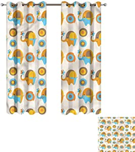 """Cash Hoover Window Blackout Curtains Modern,Elephant Butterfly,Complete Darkness, Noise Reducing Curtain 50"""" Wx84 L,2 Panels"""
