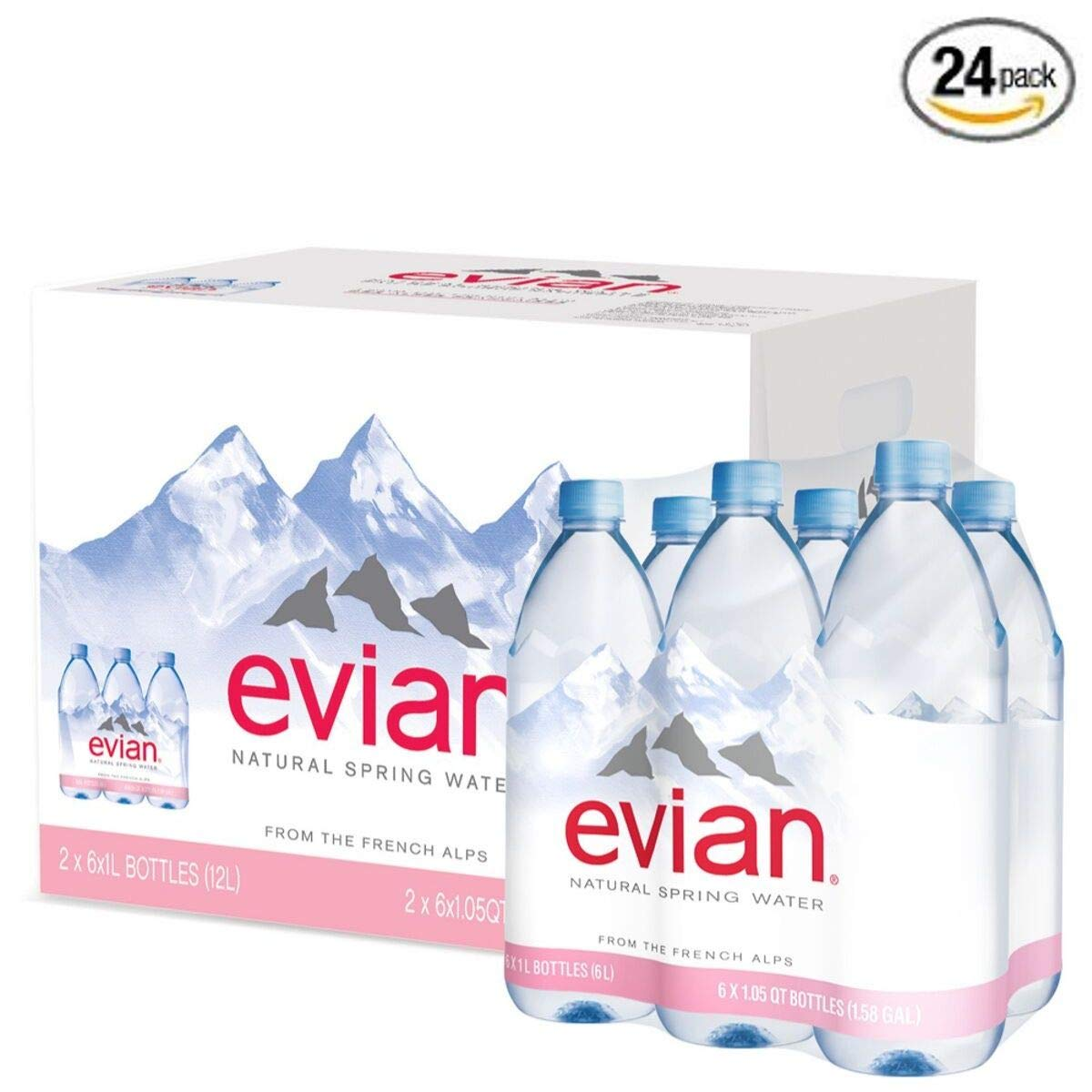Evian Natural Spring Water, 1 L (Pack of 24) by evian