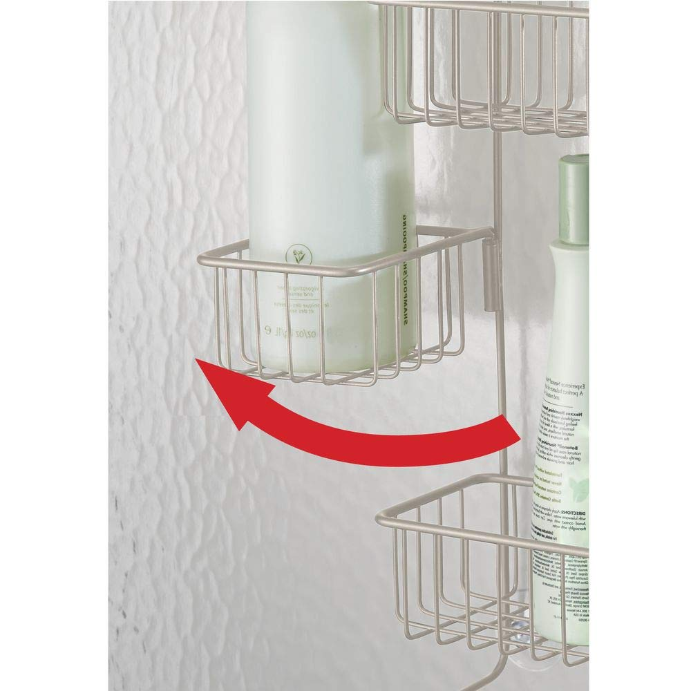 InterDesign Metalo Adjustable Over Door Shower Caddy – Bathroom Storage Shelves for Shampoo, Conditioner and Soap, Satin by InterDesign (Image #7)