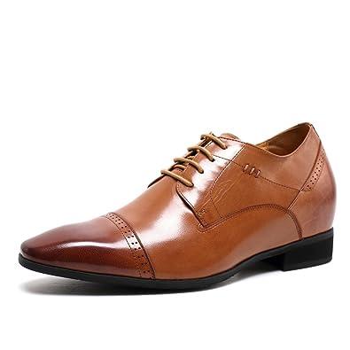 CHAMARIPA Chaussure à Talonnette Grandissante Homme Cuir Smart Rehaussante  Soulier Shoes 7cm Plus Grand