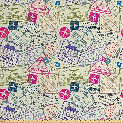 Ambesonne Travel Fabric by The Yard, Passport and Visa Stamps Illustration of Toronto Hong Kong Berlin Print, Decorative Fabric for Upholstery and Home Accents, 2 Yards, Eggshell and Pink