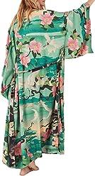 f1d8caae64 Bestyyou Women's Print Kimono Jacket Cardigan Long Robe Bathing Suit Bikini  Swimsuit Cover Up Swimwear