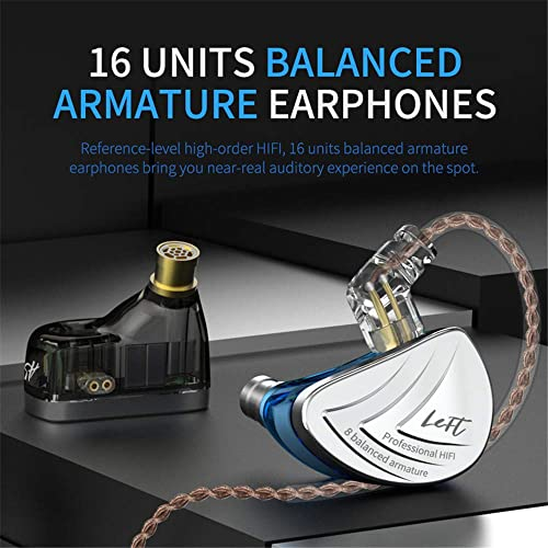 KZ AS16 in Ear Monitor Yinyoo IEM Metal Headphones Earphones HiFi Stereo Sound Earbuds Noise Cancelling Ear Buds with 8BA 0.75mm 2pins Cable with mic, Blue