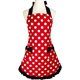 Lovely Sweetheart Red Retro Kitchen Aprons Flirty Woman Girl Bowknot Cotton Polka Dot Cooking Pinafore Vintage Apron with Poc