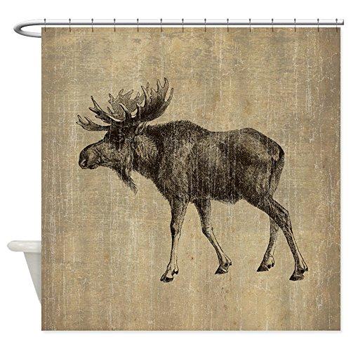 - CafePress Vintage Moose Decorative Fabric Shower Curtain (69